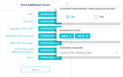 Screenshot of options to find additional InnoCare forms