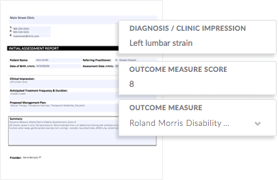 Screenshot of InnoCare's clinic software patient assessment report