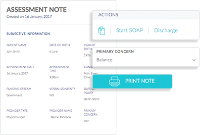 Screenshot of InnoCare's software showing the patient assessment note feature