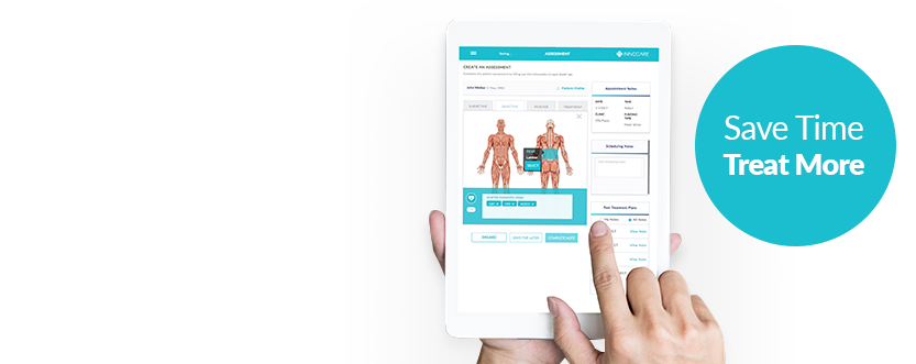 InnoCare Charting Plus EMR software on a tablet