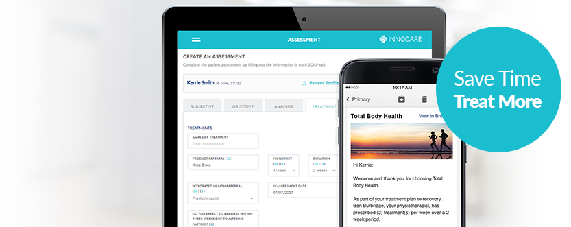 InnoCare assessment page on tablet and clinic email marketing message on mobile