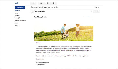 InnoCare engage clinic email marketing message